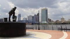 Statue overlooking Jacksonville Skyline Stock Footage
