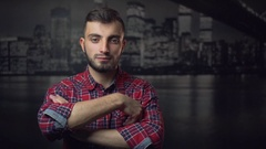 Successful Young Man Looking in Camera Stock Footage