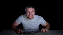 Man with a passion playing online games. Studio. Emotions Stock Footage