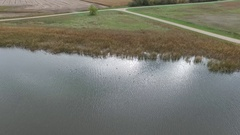 Aerial Footage of a Duck Hunting Decoy Spread Stock Footage
