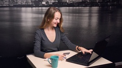 Girl Making Online Payment with Credit Card Stock Footage