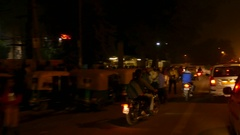 Busy city of New Delhi at night, India Stock Footage