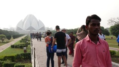 Tourists in Lotus Temple in New Delhi, India Stock Footage
