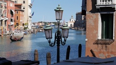 Interesting view down Venice's Grand Canal with gondola. Stock Footage