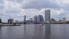 Jacksonville Skyline, A Boat Passing By Stock Footage