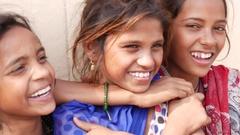 Cute Indian girls having fun Stock Footage