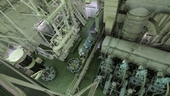 Engine room of large ship Stock Footage