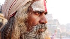Close Up of Hindu Sadhu Holy Man Stock Footage