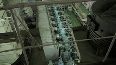 Main engine of ship Stock Footage