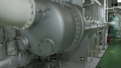 Steam condenser of large tanker. Stock Footage