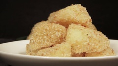 Potatoes with a crispy crust with rosemary Stock Footage
