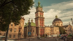 Time lapse of moving clouds over the church in city Lviv, Ukraine. Stock Footage