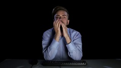 Young people disappointed by what he saw in the monitor Stock Footage