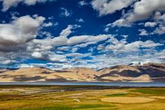 Lake Tso Moriri in Himalayas. Ladakh, India Stock Photos