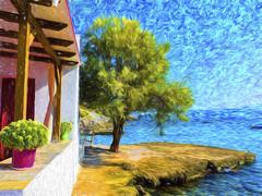 House near the sea, summer seascape Stock Illustration