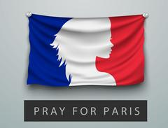 FLAG OF france battered, hung on the wall, screwed screws Stock Illustration