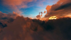 Airplane flying over volumetric clouds Stock Footage