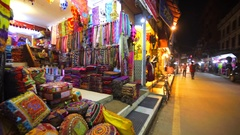 Store of colourful headscarfs and textile in Thamel. Kathmandu, Nepal Stock Footage