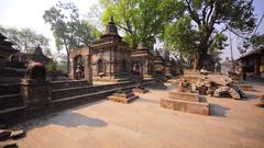 The Pashupatinath Temple with small Shiva temples with lingams. Kathmandu, Nepal Stock Footage
