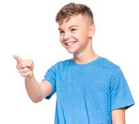 Emotional portrait of teen boy Stock Photos