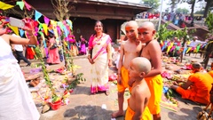 Boys with shaved heads. Upanayana ceremony. Pashupatinath Temple, Kathmandu Stock Footage