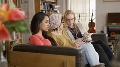 4K Female students studying together in shared accommodation Stock Footage