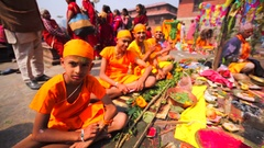 Boys pose and look into a camera at Upanayana ceremony. Pashupatinath Temple Stock Footage