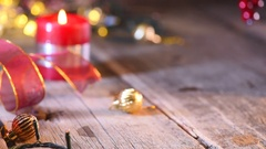Christmas and New Year red gift box closeup. Christmas background Stock Footage