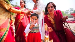 Nepali girl in national clothes looks into the camera and poses. Kathmandu Stock Footage