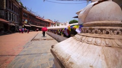 Exterior of the Boudhanath stupa, and spinning prayer wheel.Kathmandu, Nepal Stock Footage
