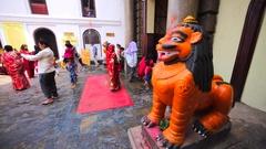 Statue of lion near the entrance into the Pashupatinath Temple. Kathmandu Stock Footage