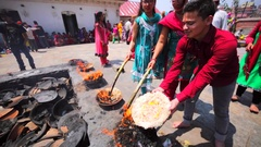 Cup of fire that were brought from the Pashupatinath Temple. Kathmandu, Nepal Stock Footage