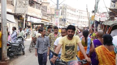 Busy city of Varanasi in India Stock Footage