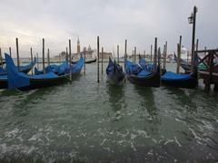 Gondolas in San Marco, Venice, Italy. Stock Footage