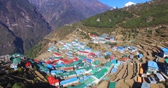 Panoramic aerial view of Namche Bazaar among beaufitul mountains. Nepal Stock Footage