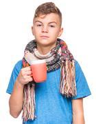 Ill teen boy with flu Stock Photos