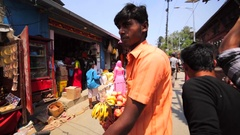 Crowded street of Kathmandu near Pashupatinath Temple with souvenir shops Stock Footage