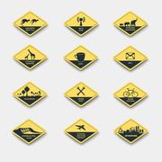 Set of signs of attention, caution and danger. road signs yellow rhombus Stock Illustration