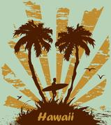 Vector Sunny beach with palm surfer in Hawaii Stock Illustration