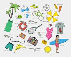 Set of playsuits clothes, entertainment and travel Stock Illustration