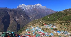 Aerial view of Namche Bazaar in Nepal, and mountains ranges on the background. Stock Footage