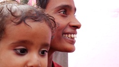 Indian Mother and daughter Stock Footage