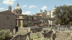 Ancient relics of Roman Forum plaza in center of Rome, capital of Italy, tourism Stock Footage