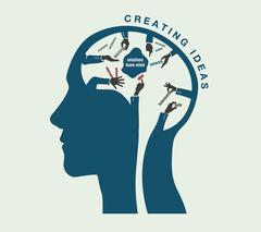 Birth of ideas in a conceptual illustration of the human head Stock Illustration