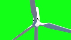 Close-up Animation of Modern Wind Turbine on Green Screen Stock Footage