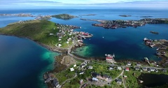 Lofoten islands fishing villages Reine and Hamnoya Stock Footage