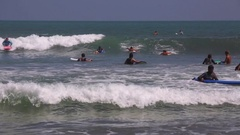 Surf School. Beginners training. Kuta Beach. The best place for learning surf Stock Footage