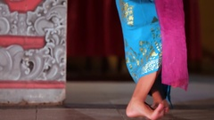 Legong traditional Balinese dance in Jimbaran. Girl dancing balinese dance Stock Footage