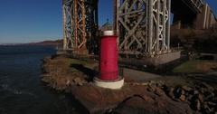 Little Red Lighthouse New York Manhattan flyaway shore Stock Footage