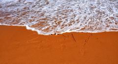 "2017 lettering on the beach. ""2017"" drawn on sand on a beach, closeup shot. Stock Photos"